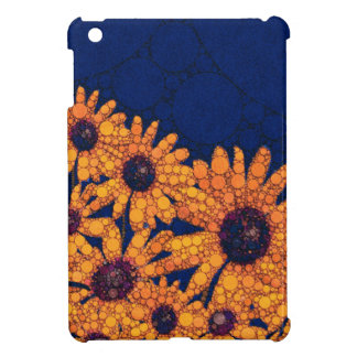 Dark Blue Bright Orange Sunflowers iPad Mini Cover