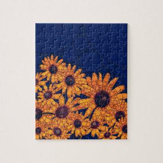 Dark Blue Bright Orange Sunflowers Jigsaw Puzzle