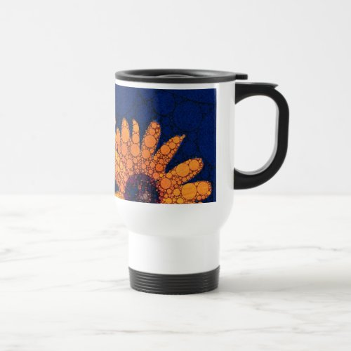 Dark Blue Bright Orange Sunflowers Travel Mug