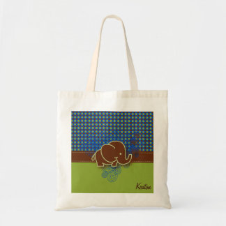 Dark Blue, Brown and Green Plaid Baby Elephant Budget Tote Bag