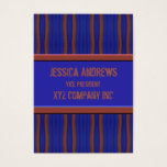 Dark blue brown retro distressed lines business card