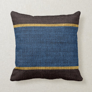 Dark Blue & Brown Rustic Burlap Jute Background Throw Pillow