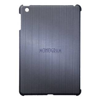 Dark Blue BrushedMetal Look-Monogram Cover For The iPad Mini