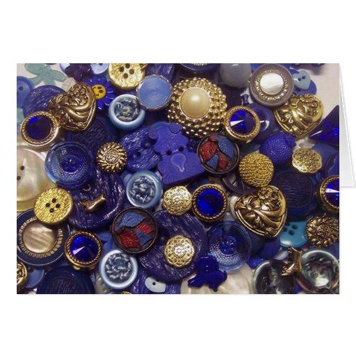 Dark Blue Button Collage Greeting Card
