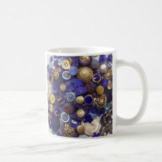Dark Blue Button Collage Coffee Mug