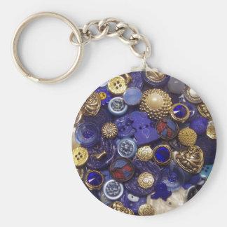 Dark Blue Button Collage Basic Round Button Keychain