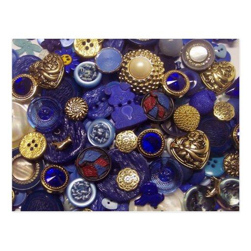 Dark Blue Button Collage Post Card