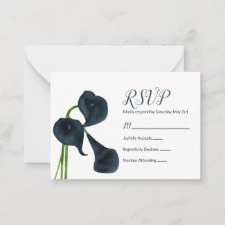 Dark Blue Calla Lilies RSVP Card