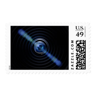 Dark Blue Camera Zoom Lens Photography Art Stamp