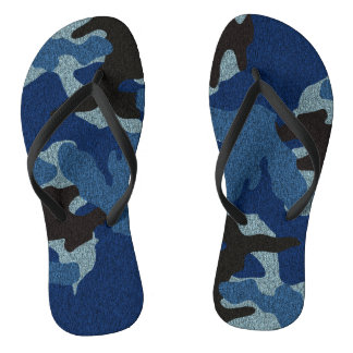 Dark Blue Camo Faux Cloth Military Flip Flops