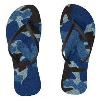 Dark Blue Camo Faux Cloth Military Flip Flops