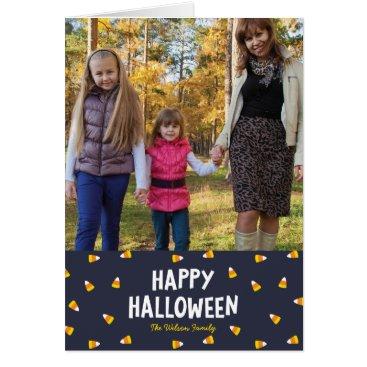 Halloween Themed Dark Blue Candy Corn Happy Halloween Photo Card