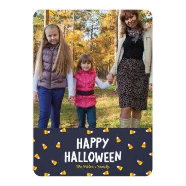 Halloween Themed Dark Blue Candy Corn Photo Happy Halloween Card