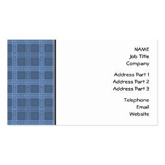 Dark Blue Check Pattern. Business Card