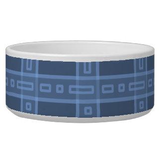 Dark Blue Check Pattern. Pet Water Bowl