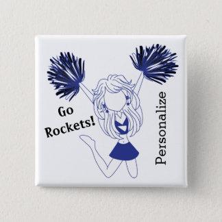 Dark Blue Cheerleader Girl | DIY Text Button