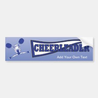 Dark Blue Cheerleader Girl Silhouette Bumper Sticker