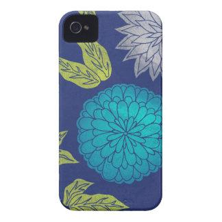 Dark Blue Chrysanthemum iPhone 4 Case-Mate Case