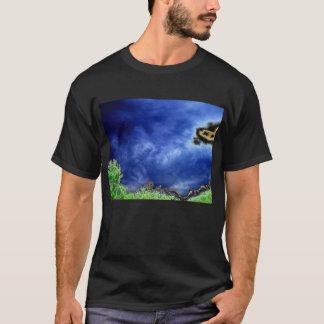 Dark Blue Cirrus radiatus Sky and Bright Trees by T-Shirt