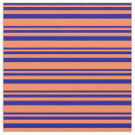 [ Thumbnail: Dark Blue & Coral Colored Lined Pattern Fabric ]