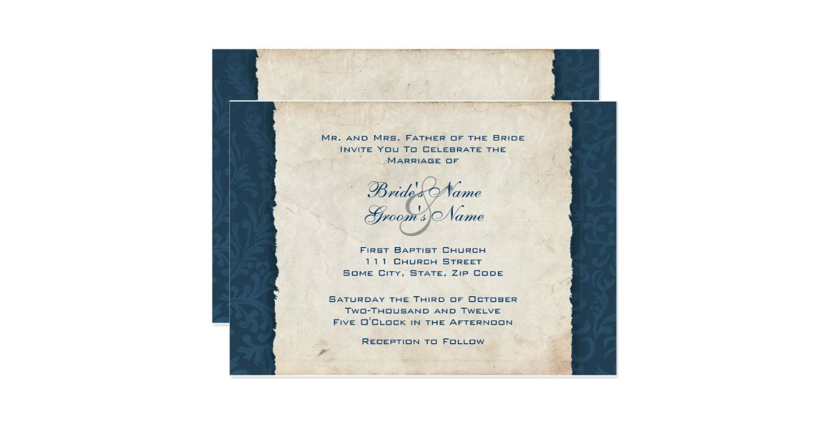 Dark Blue Wedding Invitations: Dark Blue Country Wedding Invitation