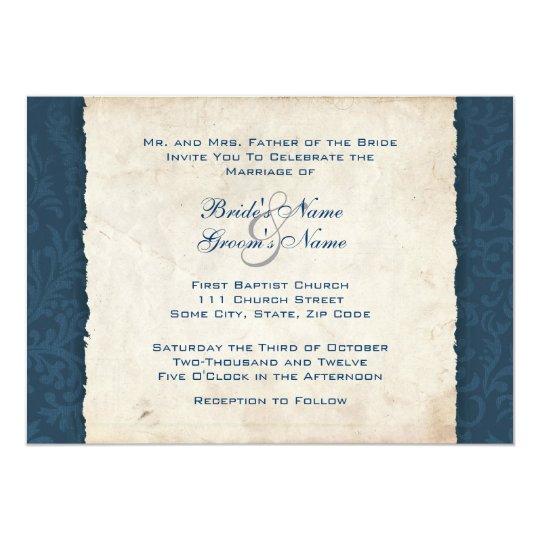 Dark Blue Wedding Invitations