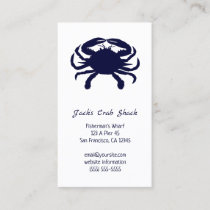Dark Blue Crab Silhouette Seafood Restaurant Business Card