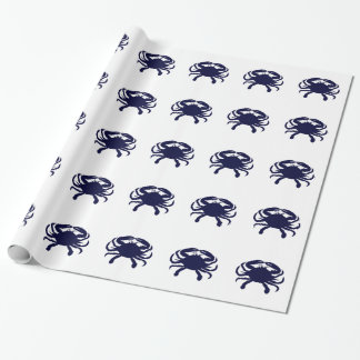 Dark Blue Crab Wrapping Paper
