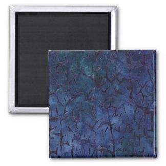 Dark Blue Crackle 2 Inch Square Magnet
