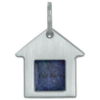 Dark Blue Crackle Pet ID Tag
