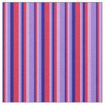 [ Thumbnail: Dark Blue, Crimson, Plum, and Purple Stripes Fabric ]