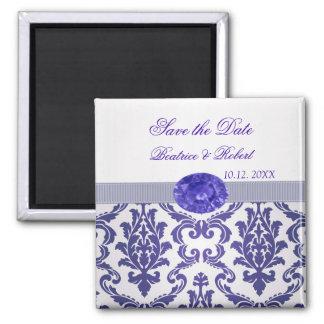 Dark blue Damask, gemstone picture Save the date Magnet