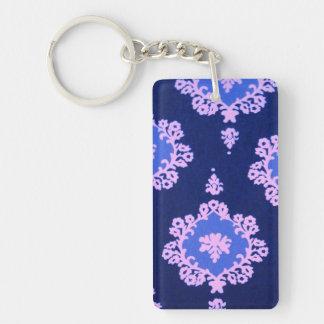 Dark Blue Damask Keychain