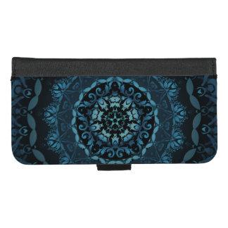 Dark Blue Damask Mandala iPhone 8/7 Plus Wallet Case