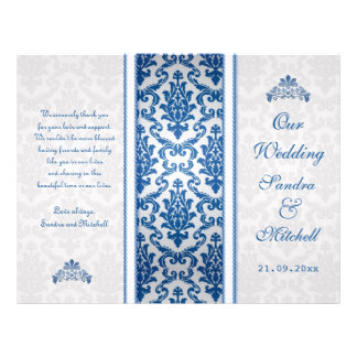 Dark blue damask on silver Wedding Program