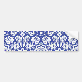 Dark blue damask pattern bumper sticker