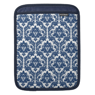 Dark Blue Damask pattern iPad Sleeve