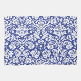 Dark blue damask pattern towels