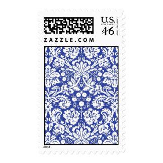 Dark blue damask pattern postage stamps