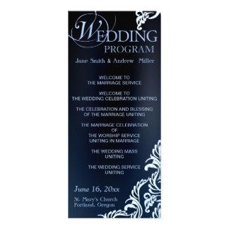 Dark blue Damask Wedding Program Rack Cards