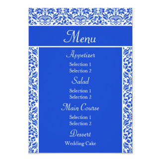 Dark Blue Damask Wedding Reception Dinner Menu Personalized Invites