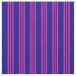 [ Thumbnail: Dark Blue & Deep Pink Stripes Fabric ]