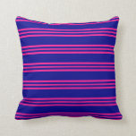 [ Thumbnail: Dark Blue & Deep Pink Stripes Throw Pillow ]