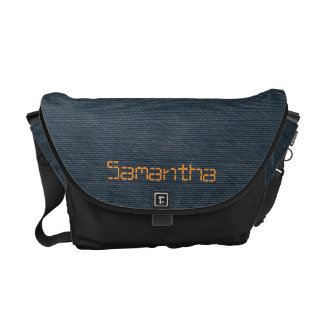 Dark blue denim messenger bag