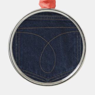Dark Blue Denim Pocket Metal Ornament