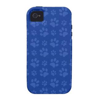 Dark blue dog paw print pattern iPhone 4/4S cases