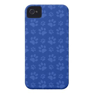 Dark blue dog paw print pattern iPhone 4 cases