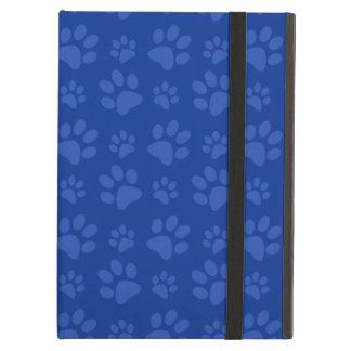 Dark blue dog paw print pattern iPad folio case