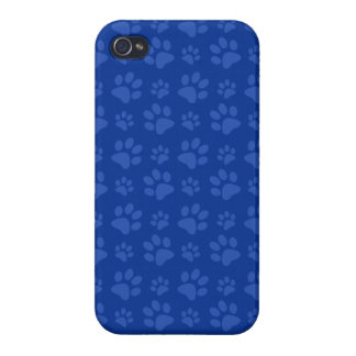 Dark blue dog paw print pattern cases for iPhone 4