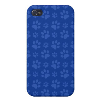 Dark blue dog paw print pattern covers for iPhone 4